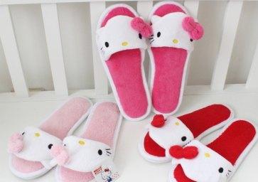 Wholesale-Women-s-Household-Slipper-girl-s-Hello-Kitty-Toe-Open-Flock-Shoes-Home-Hotel-Babouche