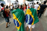 Demonstrators attend a protest against the Confederations Cup and Brazil's government in Recife