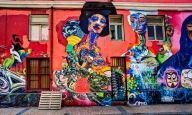 Graffiti street art is abundant in the streets of Valparaíso, Chile.