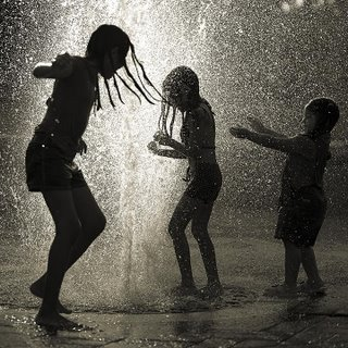 Children playing in the Rain