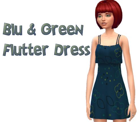 Blu & Green Flutter Dress
