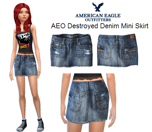 AEO Destroyed Denim Mini Skirt
