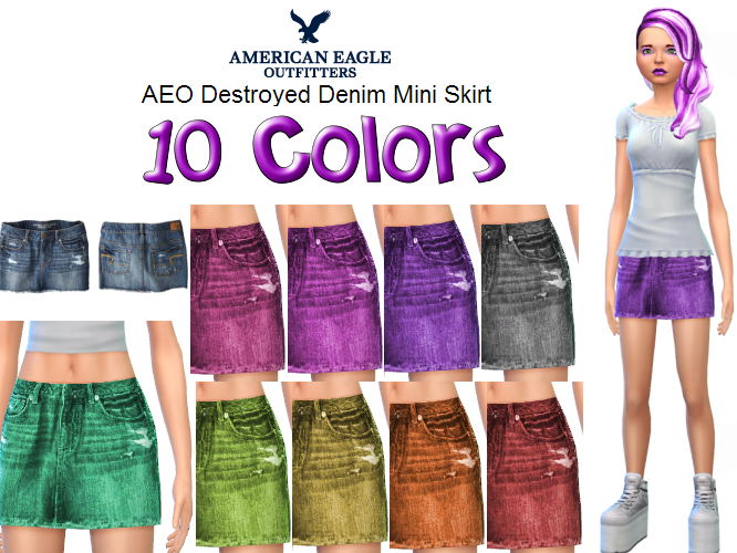 AEO Destroyed Denim Mini in 10 new colors