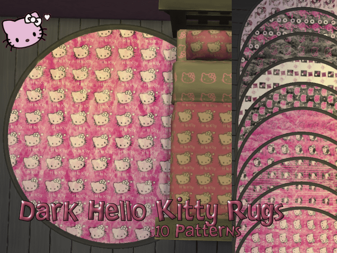 Dark Hello Kitty Rug Set in 10 patterns