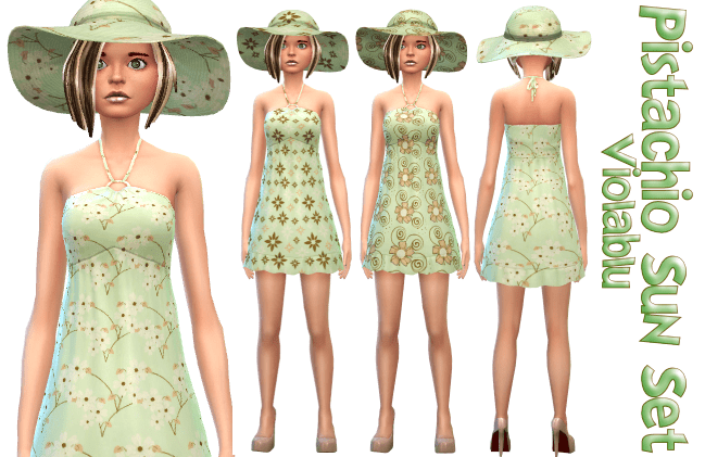 Pistachio Sun Set – 3 Sun Dresses and 3 Matching Sun Hats