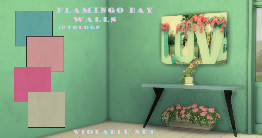 Flamingo Bay Solid Walls for Sims 4