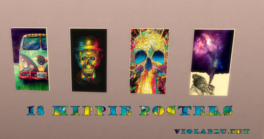 18 Hippie Posters for Sims 4