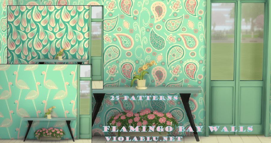 Flamingo Bay Wild Patterns Wallpaper for Sims 4