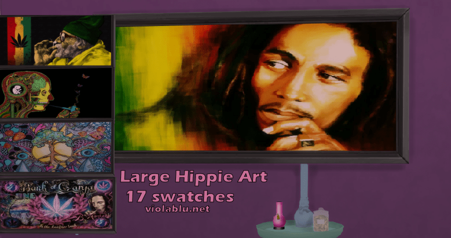 Large Framed Hippie Art for Sims 4