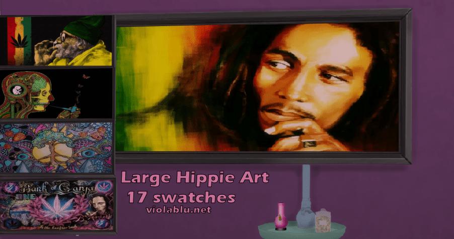 Large Framed Hippie Art for Sims 4