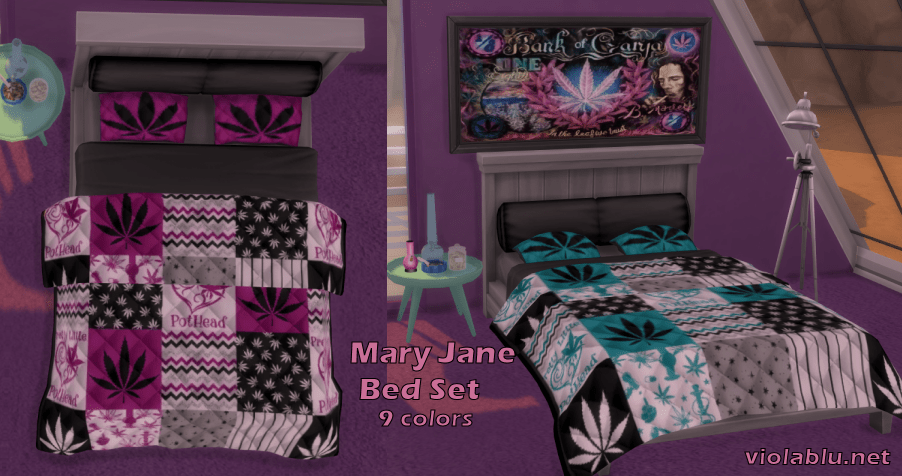 Mary Jane Weed Quilts and Beds for Sims 4