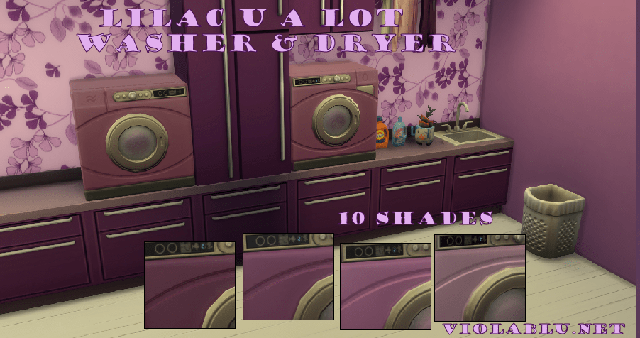 Lilac U A Lot Washer & Dryer Set for Sims 4