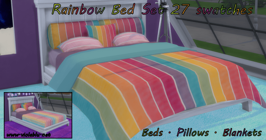 Rainbow Bed Set for Sims 4