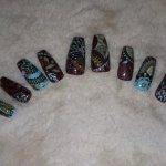 Brown and Blue Paisley Nails