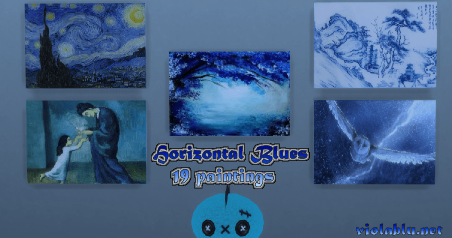 Horizontal Blues Paintings for Sims 4