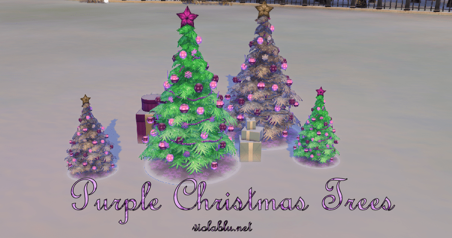 Purple Christmas Trees for Sims 4