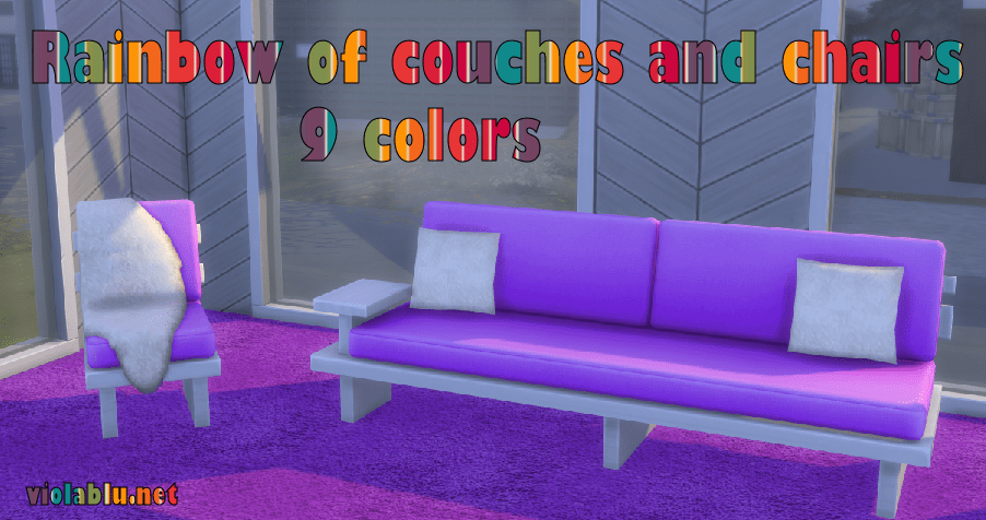 Rainbow of Couches and Chairs with Fur Throw and Pillows for Sims 4