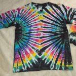 Youth XL Long Sleeve Black Rainbow Tie Dye