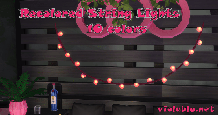 String Lights in 10 Colors for Sims 4