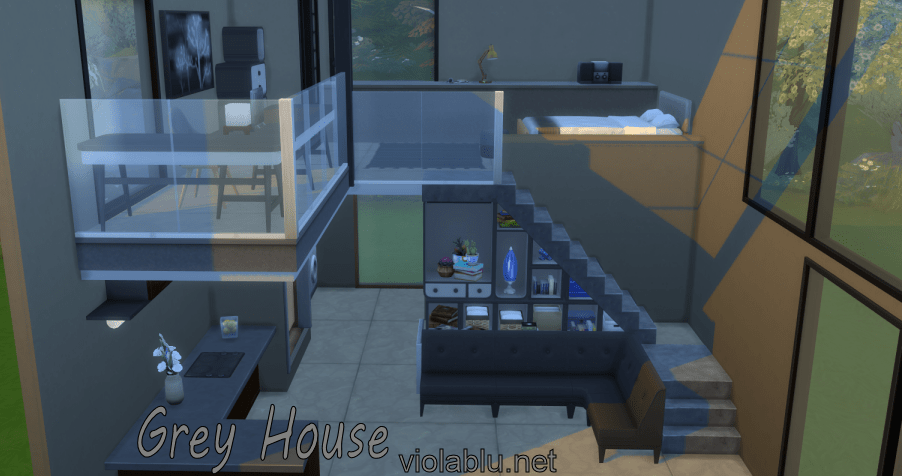 Grey Simple House for Sims 4