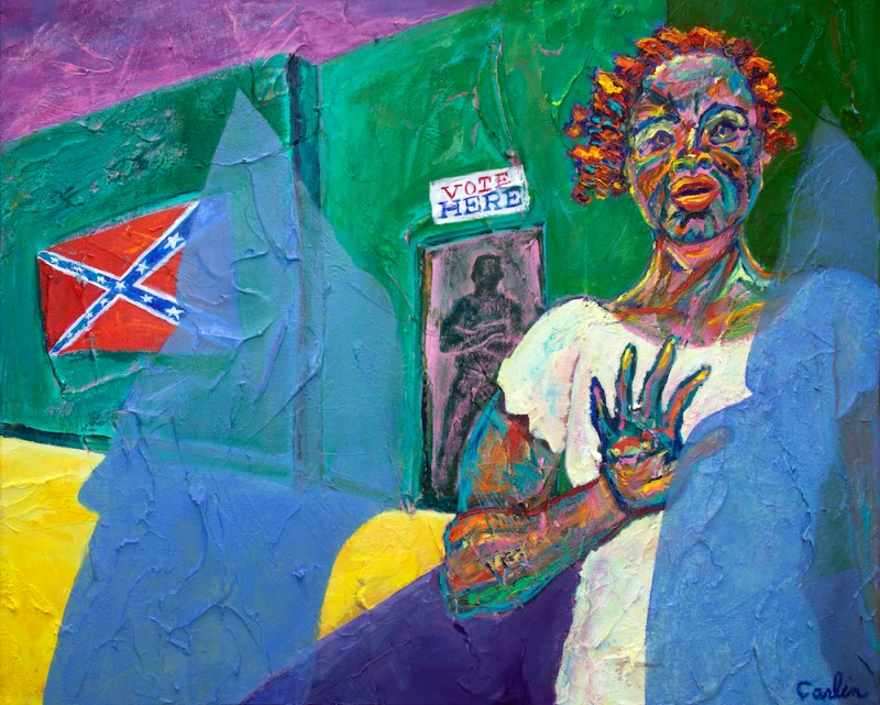 "Judith Carlin, STILL FIGHTING, Oil and acrylic, 24""x  30"""