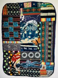 "Susan Thompson, ""When the Ancestors Cried,"" Quilt with hand-dyed and painted fabric, 50"" x 36"", 2011"