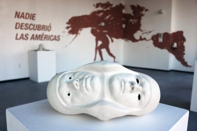 """Salvadore Jiménez-Flores, """"No One Discovered The Americas / """"Nadie descubrió las Américas,"""" Porcelain, synthetic hair, and terra-cotta slip, 2016 (1 of 2)"""