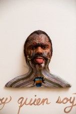 "Salvadore Jiménez-Flores, ""I Am Who I Am"" / ""Soy quien soy"" (Grand Rapids Art Museum Collection), Porcelain, terra-cotta, oil, graphite, black stain, gold luster, and terra-cotta slip, 2014"