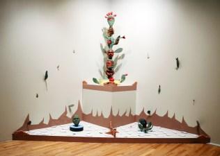 """Salvadore Jiménez-Flores, """"The Resistance of the Hybrid Cacti"""" / """"La resistencia de los nopales híbridos,"""" (Detail of installation), Terra-cotta, porcelain, underglazes, gold luster, and terra-cotta slip, 96"""" x 96"""" x 96"""", 2016 (1 of 2)"""