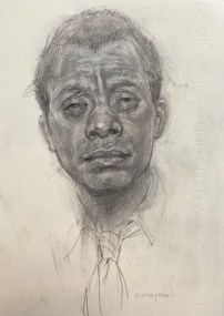 "Carlos Byron, ""Baldwin,"" graphite powder/2B pencil, 9"" x 12"", 2016"