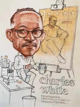 "Carlos Byron, ""Charles White,"" colored pencil/ink on Bristol board, 14"" x 17"", 2017"