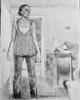 """Carlos Byron, """"Dianne,"""" charcoal conté/Stonehedge paper, 20"""" x 30"""", 2010"""