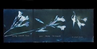 "Laura Blacklow, ""Move Forward"" (words by Elena Mikhalova), Cyanotype and Van Dyke brown print artist's book, 7.5"" x 10,"" 2020"