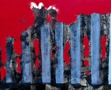 "Brenda Steinberg, Mixed media on hardboard, 9"" x 12"", 2018"