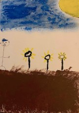 """Officer Daniel Varraso, """"Sunflowers with Skies,"""" Painting, 16"""" x 20,"""" 2021"""