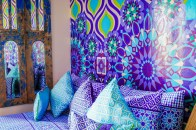 Love the mix of blues, purples and green here. http://salutmaroc.com