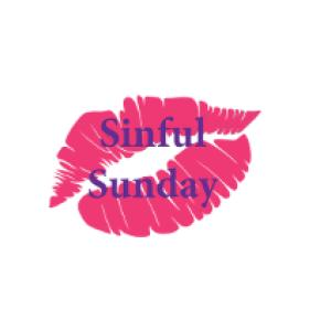 """lip print logo and text """"sinful sunday"""""""