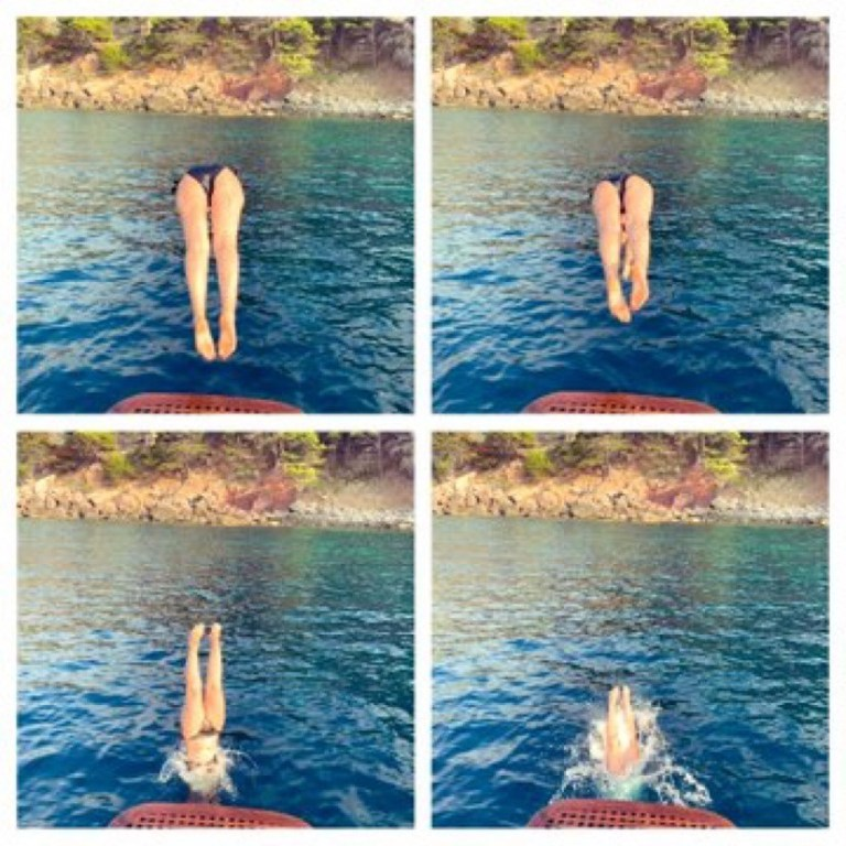 four images of a woman jumping off a dock into a lake
