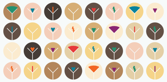 a grid layout of 32 stylized vulvas in multiple colours, skin tones and degrees of pubic hair