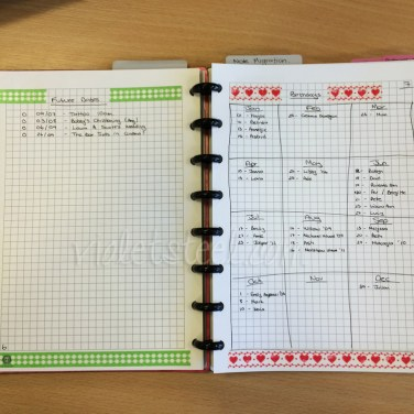 The first issue I encountered with this system is there no place to record future dates, so I created a list for them that I can refer to at the start of each new month. I've also created a year planner purely for birthdays.