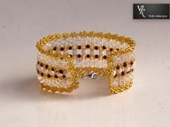 bransoletka handmade biało złota