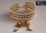 bransoletka hand made biało złota