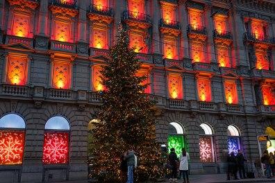 Christmas decoration of the Credit Suisse building at the Paradeplatz, Zurich, Switzerland.
