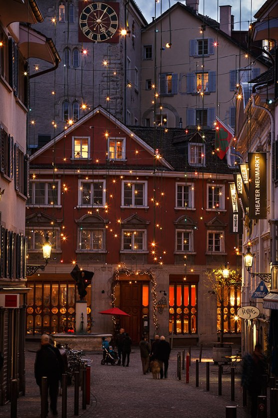 An alley in the old town of Zurich at night with Christmas lights, Switzerland.
