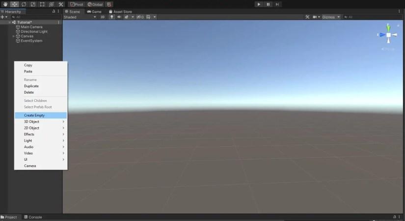 Creating empty gameobject