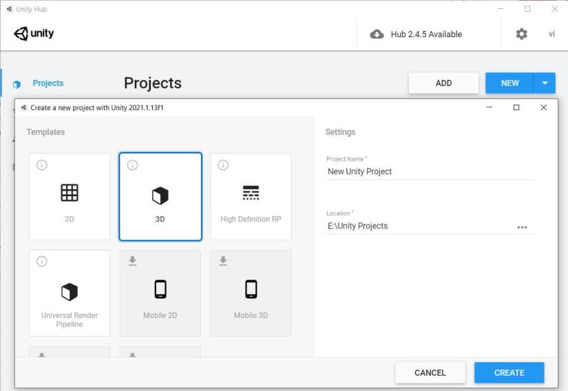 Create new project in Unity