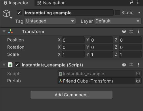 Assign prefab to script for instantiating