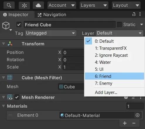 Layer setup details