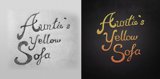 Auntie's Yellow Sofa Logo Process