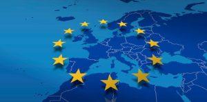 Vereinigtes Europa Symbol mit Karte